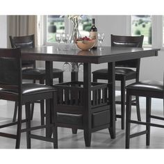 Largest Bar, Pub Tables & Sets collection: Dine in casual comfort with the five-piece Jaden Counter Height Table & Stool set. Square in shape, the counter height pub table is crafted from 5 Piece Dining Set, Dining Room Sets, Dining Table In Kitchen, Dining Room Furniture, Fine Furniture, Garden Furniture, Furniture Decor, Kitchen Nook, Small Dining