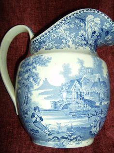 MEXBOROUGH//SWINTON JUG. Blue And White China, Blue China, Love Blue, White Heaven, Old Pottery, Blue Dishes, Water Into Wine, Painted Vases, Antique China