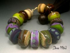 Handmade LAMPWORK Glass Bead Set DONNA MILLARD sra blue brown ice granite crusty assemblage organic primitive tribal soda bellydance on Etsy, $75.00