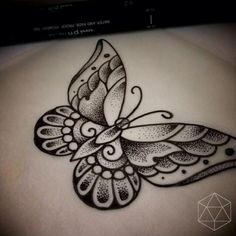 Tatuagem Borboleta Pontilhismo