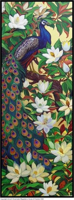 Peacock Art...Peacock Amongst Magnolias...By Artist Unknown...