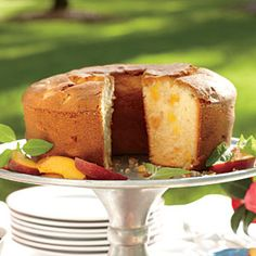 a lot of work but a good cake in the end - eat quickly though because all the moisture makes it go bad quickly  Two-Step Fresh Peach Pound Cake | MyRecipes.com