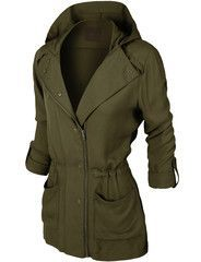 MBJ Womens Pop of Color Parka Jacket L OLIVE Made By Johnny http ...