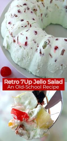 This Retro Jello Salad makes its appearance often during family potlucks and holiday dinners. Lime Jello, soda, along … Jello Desserts, Dessert Salads, Summer Desserts, Just Desserts, Delicious Desserts, Yummy Food, Lime Jello Salads, Fruit Salad Recipes, Lime Jello Recipes
