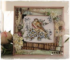 Stempelglede :: Design Team Blog: DT Camilla S. Bakke Shabby, Bee Cards, Mittens, Cardmaking, Paper Art, Vintage World Maps, Decorative Boxes, Camilla, Birds