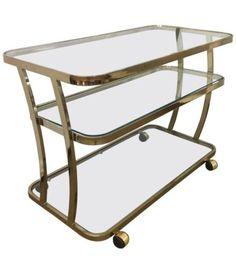 Rare-Mid-Century-Modern-Curved-Milo-Baughman-Glass-amp-Brass-Bar-Cart-Tea-Cart-42W