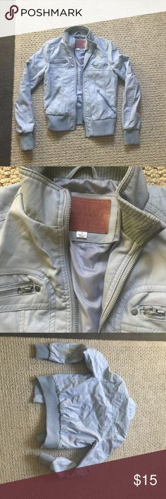 Gray leather jacket Faux leather. Polyester lining .Light grey never been worn Jackets & Coats