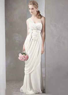 Channel bridal romance with this asymmetrical White by Vera Wang gown ($628). The silhouette is gorgeous, but the light material keeps it from feeling over the top for even a more low-key nuptial.