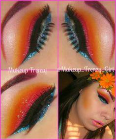 Tropical wedding makeup colorful gorgeous luau Hawaiian makeup frenzy