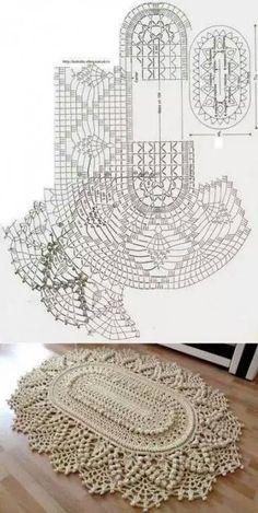 New Ideas Crochet Flowers Rug Patterns Crochet - Diy Crafts Crochet Doily Rug, Crochet Doily Diagram, Crochet Carpet, Crochet Rug Patterns, Crochet Mandala Pattern, Crochet Flower Tutorial, Crochet Tablecloth, Crochet Flowers, Diy Crafts Crochet