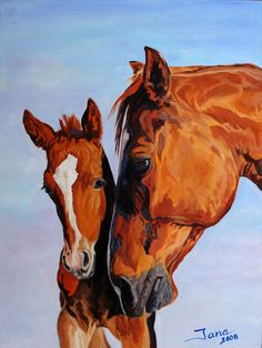 Mare And Foal Painting  - Jana Goode