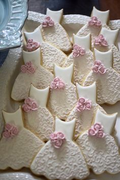 $55 12 Bridesmaid Dress Cookies-Each dress cookie is approximately 4 x 4.75 inches in size. They are iced with royal icing and finished with shimmery satin confectionery luster dust.