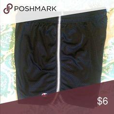 "Black Champion Mesh Athletic Shorts Large Champion mesh athletic shorts. These shorts are lined and have a drawstring and elastic waist. White stripe on side. 6"" inseam. Size large. Champion Shorts"