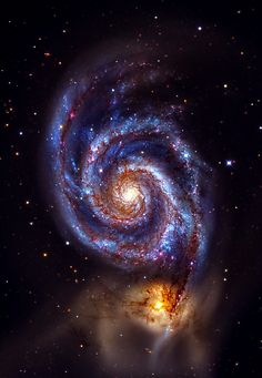 The Whirlpool Galaxy (M51A or NGC 5194) and (M51B or NGC 5195, left). The Whirlpool Galaxy is a grand-design spiral galaxy, interacting with NGC 5195, a dwarg galxy. Both galaxies are located 23 ± 4 million light-years away in Canes Venatici.