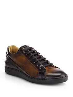 Fendi Antiqued Leather Lace-Up Sneakers