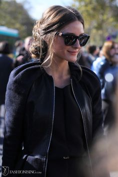Olivia Palermo after Dior- love the messy bun
