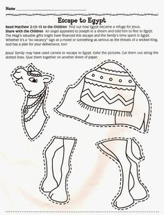 Escape to Egypt! Color and piece together a camel. Great way to teach kids more about animals of the Bible. Bible Story Crafts, Bible Crafts For Kids, Preschool Bible, Kids Bible, Sunday School Lessons, Sunday School Crafts, Camel Craft, Egypt Crafts, Camelo