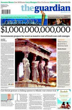 Lo que costaría una salida griega del euro a los británicos: un 1 seguido de 12 ceros, en dólares / Cost of Greek exit from euro put at $1tn. Via The Guardian