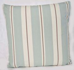 Duck Egg Blue Throw Pillow Cover 16 ins UK Design  Duck Egg Blue Grey Cream Stripe Cotton Fabric