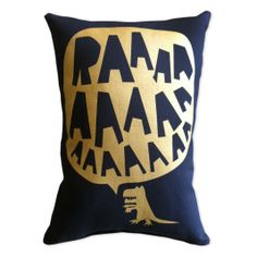 RAAAAA dinosaur cushion in gold on black- Freddy Alphabet- Using recycled PET bottles! - We love