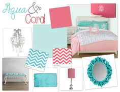 aqua & coral bedroom--guest bedroom color scheme!! Have the coral and white bedspread...