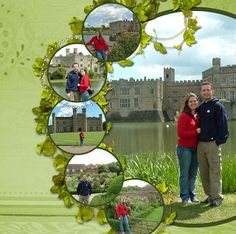 Recent Scrapbook Pages: London - Leeds Castle. I love how there is one big picture and circular ones beside it. Must try this!