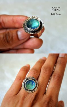 Bowl ring: copper, silver and enamel.