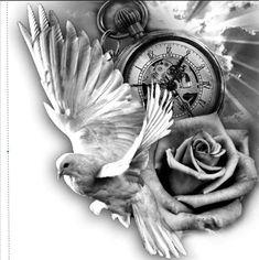 Engel - tattoo designs ideas männer männer ideen old school quotes sketches Engel Tattoos, Dove Tattoos, Bild Tattoos, Black And Grey Tattoos, Body Art Tattoos, Celtic Tattoos, Clock Tattoo Design, Tattoo Design Drawings, Tattoo Sleeve Designs