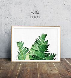 Tropical Poster Palm Leaf Print Horizontal Leaves Print