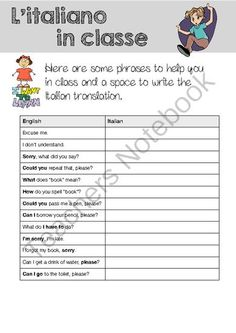 English / Italian Classroom Language from English Planet on TeachersNotebook.com - (1 page) - English / Italian Classroom Language - simple phrases your students of Italian will be able to use during each lesson.