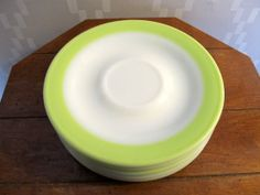Vintage Pyrex set of 5 lime green banded saucers
