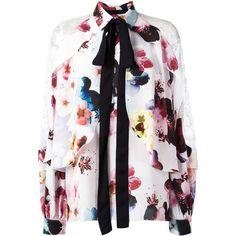 Elie Saab floral print shirt (86.865 RUB) via Polyvore featuring tops, white shirt, white top, flower print shirt, white floral top и elie saab