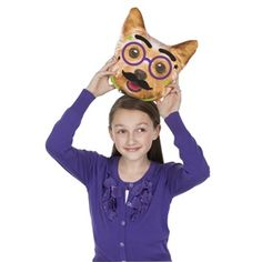 """Pet Talk Pillow - Cuddle up with a cute kitty or precious puppy pal. This 11"""" square, two-sided decorative pillow comes ready to personalize with dozens of peel-and-press fabric and felt stickers. #creativityforkids"""
