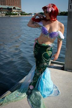 Ariel Beautiful beaded full delux fin COSTUME COSPLAY. $1,200.00, via Etsy.