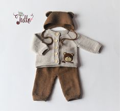 Bear costume bear outfit baby bear merino wool set baby clotging bear design new baby baby shower knit baby set MADE TO ORDER - Babykleidung Baby Knitting Patterns, Baby Boy Knitting, Hand Knitting, Bear Costume, Knitted Baby Outfits, Knitted Baby Clothes, Baby Set, Baby Baby, Kid Outfits