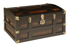 "Maple Steamer Trunk (pictured in ""Legacy Black"" finish with Antique brass Hardware)"