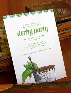 derby party, cocktail party invitation. $3.00, via Etsy.