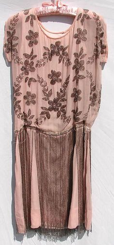 Vintage 20s Beaded & Fringed Pink Silk Chiffon Flapper Dress