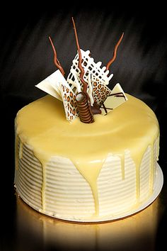White chocolate mud cake decorated with creamy white chocolate ganache and funky chocolate garnish.