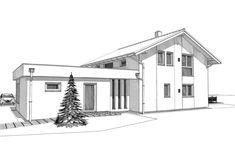 ELK Haus 153 mit Büro Anbau & Zwerchgiebel - ELK Fertighaus | HausbauDirekt Style At Home, Living Haus, Modern House Plans, My House, Villa, Floor Plans, Architecture, House Styles, Houses