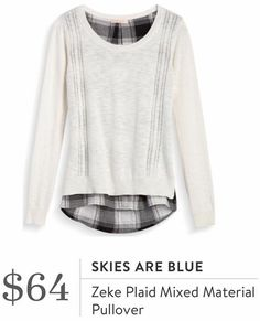 Skies Are Blue Zeke mixed material pullover. I love Stitch Fix! A personalized styling service and it's amazing!! Simply fill out a style profile with sizing and preferences. Then your very own stylist selects 5 pieces to send to you to try out at home. Keep what you love and return what you don't. Only a $20 fee which is also applied to anything you keep. Plus, if you keep all 5 pieces you get 25% off! Free shipping both ways. Schedule your first fix using the link below! #stitchfix…