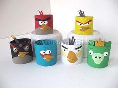 Angry birds are storming into your home in a very friendly way: budget-friendly, that is. They may be angry, but Toilet Tube Angry Birds are too cute to get mad at. You'll love making these paper angry birds look like the ones in the game. Cumpleaños Angry Birds, Festa Angry Birds, Cardboard Tube Crafts, Toilet Paper Roll Crafts, Cardboard Rolls, Cardboard Playhouse, Bird Birthday Parties, Birthday Ideas, Bird Party