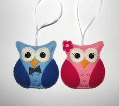Wool Felt Owl Ornament Owl Plush Ornament Set of 2 Wedding