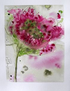 Queen Anne's Lace Floral Watercolor Original by RedbirdCottageArt
