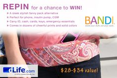 REPIN this post for a chance to WIN a BANDI Wear Pocket Belt! There is no limit to the amount of times you can enter this sweepstakes, so keep repinning! Get peace of mind with BANDI Wear Pocket Belts. A sleek, stylish alternative to a fanny pack, BANDI Wear Pocket Belts can hold an insulin pump, CGM, phone, emergency diabetes supplies, and other small essentials. To learn more about BANDI Wear, visit: http://bandiwear.com/pages/medical-solutions. For official sweepstakes rules, go to…