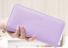Wallet Female PU Leather Clutch Handbag Candy Color Long Women Wallets Credit Card Holder Coin Purse Phone Pocket Women Bag B745