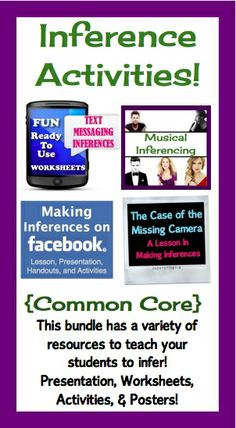 This Best-Selling Inference Bundle is perfect for any middle school (or early high school) classroom!  It is aligned with the Common Core and includes fun and engaging activities that will get your students to think inferentially!