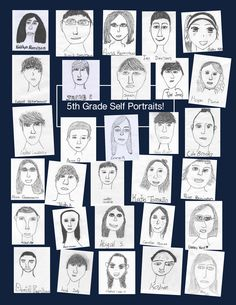 Self portraits - Great for an elementary school yearbook! Elementary Yearbook Ideas, Yearbook Picture Ideas, Yearbook Pages, Yearbook Spreads, Yearbook Covers, Yearbook Layouts, Yearbook Design, Yearbook Pictures, Art Lessons Elementary