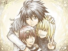 Lawliet, Near, Mellow, and Matt. Death Note