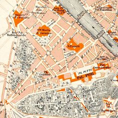 Florence Street Map City Centre Vintage Italy Firenze Original